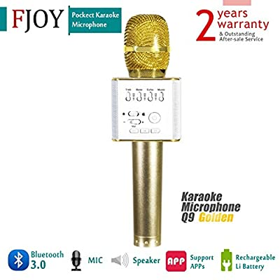 Portable Wireless Karaoke Microphone / FOJNY Bluetooth Handheld Speaker / Q9 Karaoke Stereo Player for Music Playing, Mini Home KTV Karaoke for Apple Iphone Android Smartphone or PC