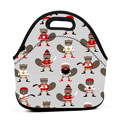 LKJDAD Canadian Hockey Beaver Lunch Bag, Thick Insulated Lunchbox Bags,Tote Box with Zipper Closure for Kid Travel Picnic Office