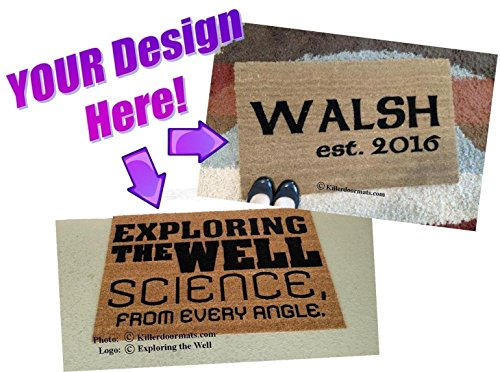 It's YOUR Personalized Custom Handpainted Welcome Doormat, Size Small - Your design idea/image by Killer Doormats