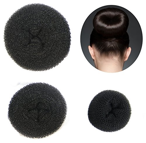 Set of 3 Donut Hair Bun Makers - (Black, 1 Small, 1 Medium, 1 Large) Styla Hair Buns Accessories