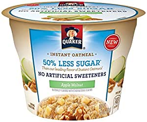 Quaker Instant Oatmeal Express Cups, 50% Less Sugar, Apple Walnut, Breakfast Cereal, Individual Cups