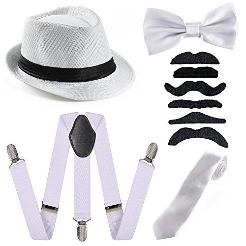 (Beelittle 1920s Mens Accessory Set Manhattan Hat, Y-Back Suspenders, Gangster Tie, Toy Fake Puff Cigar)