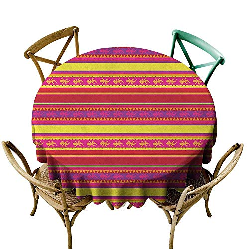 Wendell Joshua Blue Tablecloth 48 inch Mexican,Vibrant Colored Striped Pattern with Abstract Lizard Animal Figures Folk Borders, Multicolor Suitable for Indoor Outdoor Round Tables ()