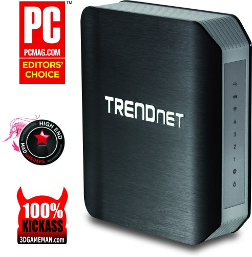 TRENDnet Wireless AC1750 Dual Band Gigabit Router with USB 3.0 Share Port, Pre-Encrypted, TEW-812DRU