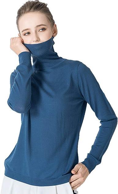 XL- Suéteres de Color sólido de Mujer Jersey de Cuello Alto ...