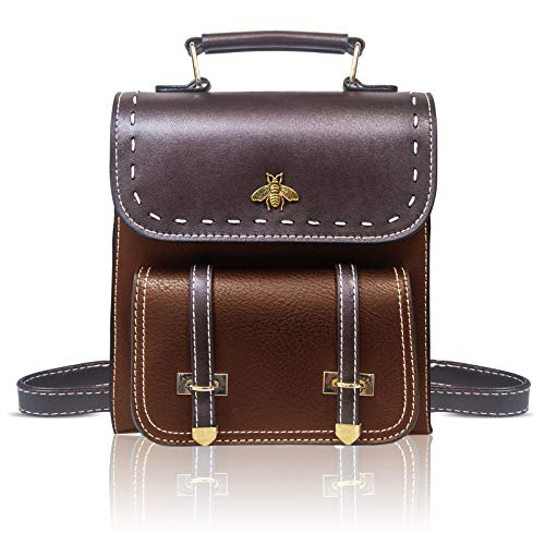 Little Bee Pu Leather Girls Backpack Women Convertible Shoulder Bag Purse Stylish Crossbodybag