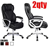 2xhome - Set of Two (2) - Black - Deluxe Professional PU Leather Big Tall Ergonomic Office High Back Chair Manager Task Conference Executive Swivel Tilt Padded Arms