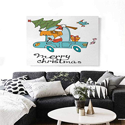 homehot Christmas Canvas Print Wall Art Blue Vintage Car Dog Driving with Santa Costume Cute Bird Tree and Gift Present Artwork for Wall Decor 24
