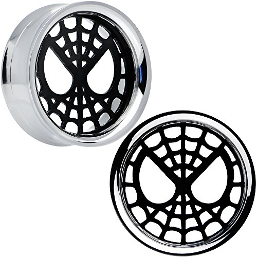 "1"" Licensed SpiderMan Steel Screw Fit Tunnel Plug Set"