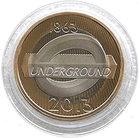 Mint 2013 London Underground Roundel Logo /£2 Coin with Capsule Coin Holder