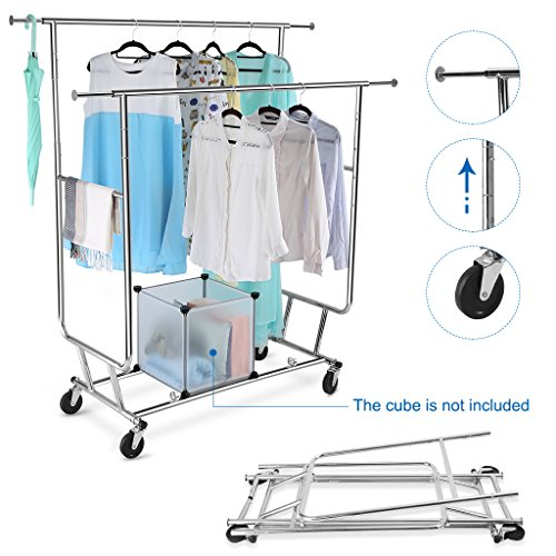 LANGRIA Collapsible Adjustable Double Rail Rolling