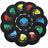 DuoMuo Coaster Set of 12 Vinyl Record Disk Coasters for Drinks - Tabletop Protection Prevents Furniture Damage - Silicone Drink Coasters