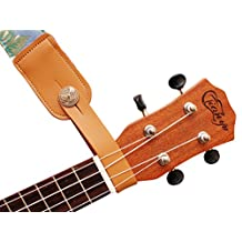 "MUSIC FIRST Original Design Genuine Leather ""EAGLE"" Ukulele Strap Button, Strap Locks, Headstock Adapter, Strap Adapter Fit for Ukulele / Banjo / Acoustic Guitar / Acoustic Bass (Eagle, Apricot)"