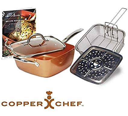 Chef de cobre 6 en 1 sartén cuadrada