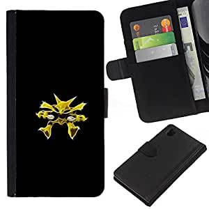 // PHONE CASE GIFT // Moda Estuche Funda de Cuero Billetera Tarjeta de crédito dinero bolsa Cubierta de proteccion Caso Sony Xperia Z1 L39 / Poke Monster Yellow /