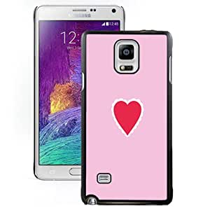 Fashionable Custom Designed Samsung Galaxy Note 4 N910A N910T N910P N910V N910R4 Phone Case With Simple Pink Love Heart_Black Phone Case