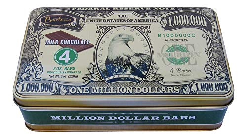 Bartons One Million Dollar Milk Chocolate Bars in a Gift Tin (Four 2 Oz Individually Wrapped Bars)]()