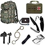 Ultimate Arms Gear Level 3 Assault MOLLE Marpat Woodland Digital Camo Camouflage Backpack Kit; Signal Mirror, Polarshield Blanket, Knife Fire Starter, Wire Saw, Axe, 50' Foot Paracord & First Aid Kit