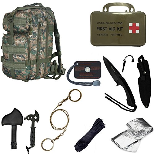 Ultimate Arms Gear Level 3 Assault MOLLE Marpat Woodland Digital Camo Camouflage Backpack Kit; Signal Mirror, Polarshield Blanket, Knife Fire Starter, Wire Saw, Axe, 50' Foot Paracord & First Aid Kit by Ultimate Arms Gear