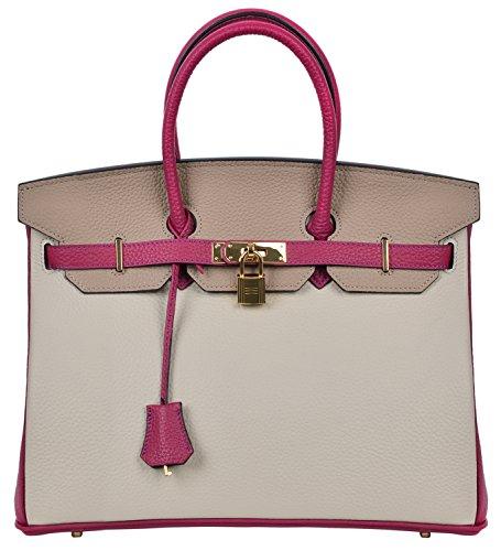 Cherish Kiss Women's Classic Genuine Leather Tote Padlock Handbags (35CM, Grey/Taupe/Mulberry) by Cherish Kiss