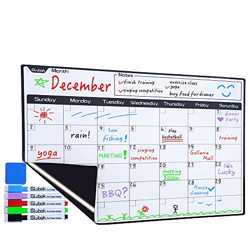 Magnetic Dry Erase Calendar Refrigerator - 2019 Monthly Planner Whiteboard for Kitchen Fridge 17x13 inches