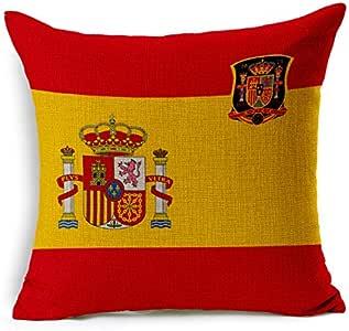 Funda de almohada cuadrada de algodón con diseño de bandera nacional para coche, sofá, cama (45 x 45 cm): Amazon.es: Hogar