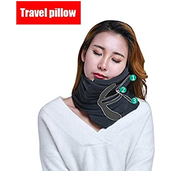 Travel Pillow ideal for airplane flight Easy to carry Soft Support Protect for Woman, Man and Children.(Black)