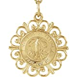14k Yellow Gold Round Our Ldy Of Fatima Pendant Medal 18.5
