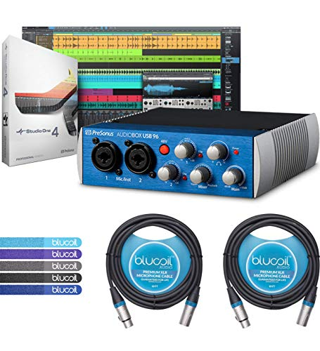- PreSonus AudioBox USB 96 2x2 USB Audio Interface Bundle with Studio One Artist Software, Studio Magic Plug-in Suite, Blucoil 2-Pack of 10-FT Balanced XLR Cables, and 5-Pack of Reusable Cable Ties