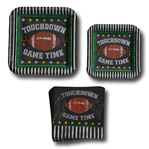 Football Gametime Touchdown Tailgate Paper Plates Party Supplies Bundle – Disposable Dinnerware Set Includes – Game Time…