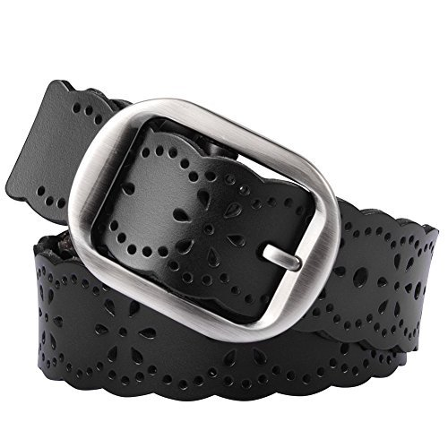 Vbiger Woven Braided Belt for Men & Women Genuine Leather Brown and Black (one size, Black 4)
