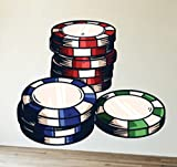 Gambling Poker Chips Wall Decals Stickers USColor013, White w/ Green Red Blue, 48 Inches