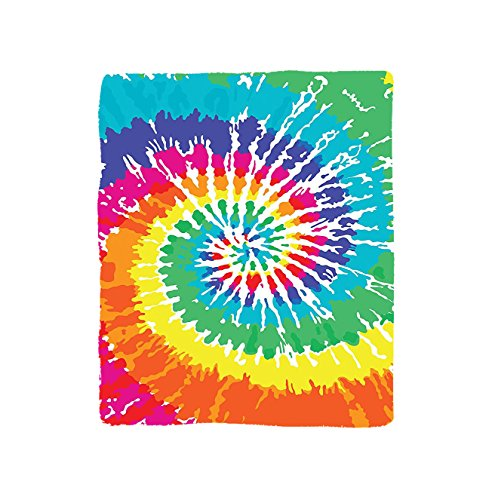 VROSELV Custom Blanket Tie Dye Digital Spiral Vortex Vibrant Rainbow Colored Sixties Ikat Psychedelic Pattern Soft Fleece Throw Blanket Multi Vortex Blanket