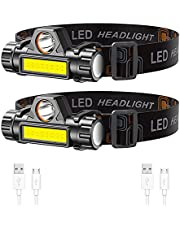 Lsnisni Rechargeable Headlamp 2-Pack, Super Bright & Lightweight LED Headlamp, Adjustable Angle & Strap Head Lamp, Waterproof Headlight Flashlight for Running Camping Cycling Outdoor Adults Kid