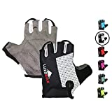 LuxoBike Cycling Gloves Bicycle Gloves Bicycling Gloves Mountain Bike Gloves - Anti Slip Shock Absorbing Padded Breathable Half Finger Short Sports Gloves Accessories for Men/Women