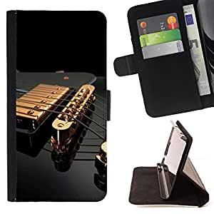 For Sony Xperia Z5 5.2 Inch Smartphone Music Gold Guitar Style PU Leather Case Wallet Flip Stand Flap Closure Cover