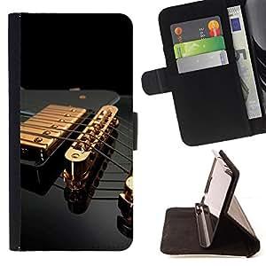 BullDog Case - FOR/Apple Iphone 6 / - / Music Gold Guitar /- Monedero de cuero de la PU Llevar cubierta de la caja con el ID Credit Card Slots Flip funda de cuer