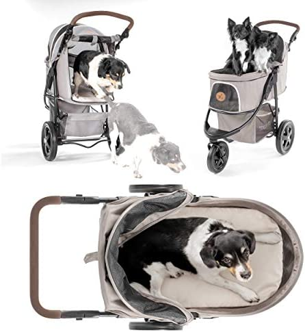51bVBVRzifL. AC - Hauck TOGfit Pet Roadster - Luxury Pet Stroller For Puppy, Senior Dog Or Cat | Easy Foldable Three Wheels Travel Pet Jogger Max. Loading 70 Lb, Mattress Included - Gray