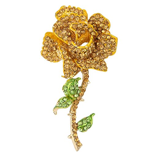 EVER FAITH Women's Austrian Crystal Blooming Rose Flower Leaves Brooch Yellow - Rose Yellow Brooch