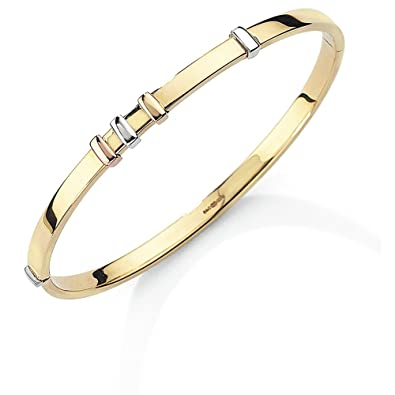 Jewelco London Ladies Solid 9ct Yellow Gold Diamond Cut D-Shape Slave 4mm Bangle Bracelet ytgoqA