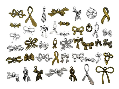 (Kinteshun Bow Tie Charm Alloy Multistyle Necktie Pendant Connector for DIY Jewelry Making Accessaries(42pcs,Antique Silver&Bronze Tone) )