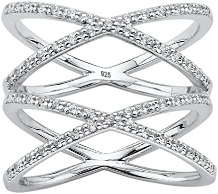 White Diamond Platinum over .925 Silver Crisscross Double