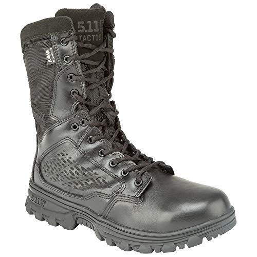 5.11 Tactical EVO 8-Inch Waterproof Boots, Side Zip Access, Full-Length EVA Midsole, Black, 7.5, Regular, Style 12312