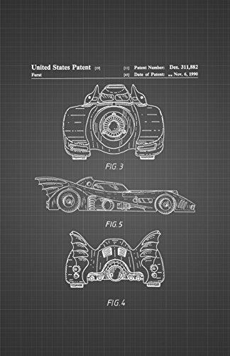 "Framable Patent Art PAPMSP82BB The Original Ready to Frame Décor Vintage Batmobile Batman Superhero Poster Print Black Blueprint, 24"" x 36"" from Framable Patent Art"