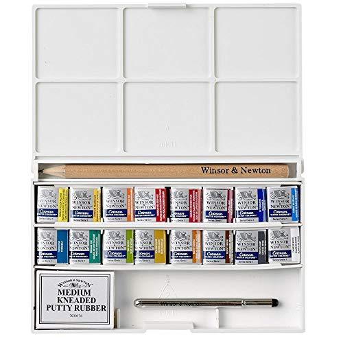 Winsor & Newton Cotman Water Colour Paint Deluxe Sketchers Pocket Box, Set of 16, Half Pans