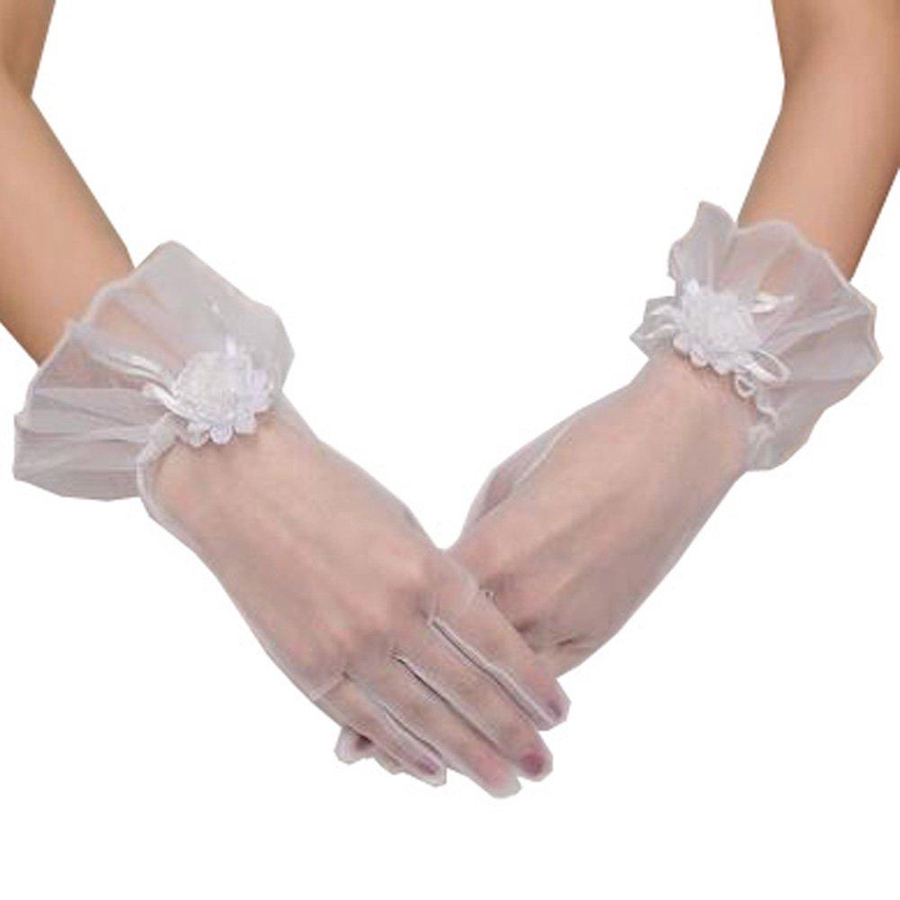 Elegant Lady Formal Banquet Party Bride Pierced Lace Wedding Gloves Bridal Gloves, NO.1