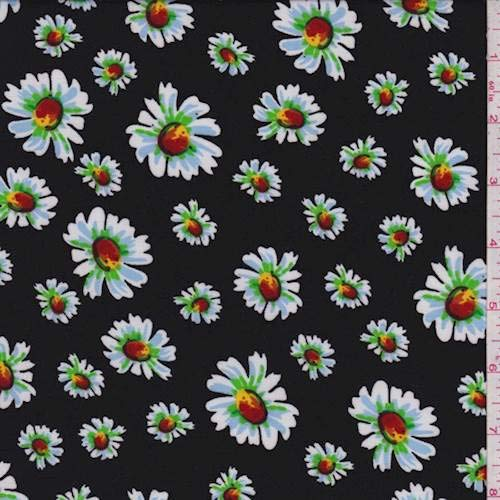 (Black Tossed Daisy Challis, Fabric by The Yard)