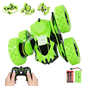 ANTAPRCIS RC Remote Control Toy 4WD Stunt Car for 6-12 Years Kids Gift, Double Side 360° Rotating Truck, Green