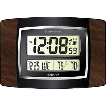 Amazoncom Sharp SPC900WG Digital Atomic Wall Clock Large Numbers