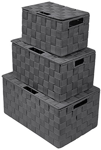 Sorbus Box Bin Container Tote Cube Set Stackable Storage Basket Woven Strap Shelf Organizer Built-in Carry Handles (Gray),]()